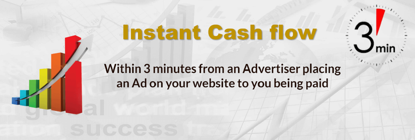 Instant Cash flow…within 3 minutes from an Advertiser placing an Ad on your website to you being paid